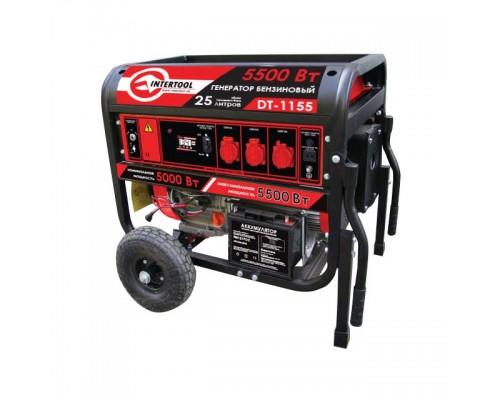 Генератор бензиновый макс. мощн. 5.5 кВт., ном. 5 кВт., 13 л.с., 4-х тактный, электрический и ручной пуск, комплект колес и ручек, 96 кг. INTERTOOL DT-1155