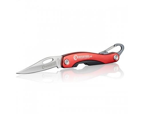 Нож складной 194 мм, ручка с алюминиевыми вставками, карабин. INTERTOOL HT-0596