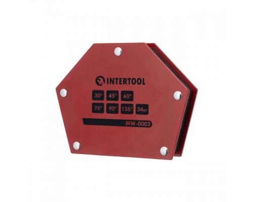 Держатель магнитный для сварки трапеция, 30°, 45°, 60°, 75°, 90°, 135°, 34 кг, 145×110×25 мм INTERTOOL MW-0003
