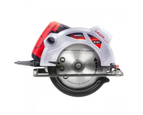 Пила дисковая 1800Вт, 5000об/мин, угол 90-45, глубина распила 73-48мм, диск 210мм*30мм, 40 зубов, лазер INTERTOOL WT-0621
