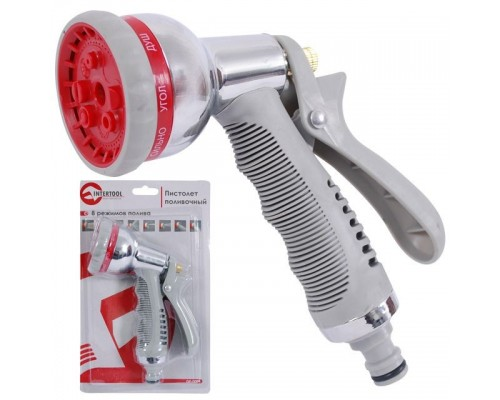 Пистолет-распылитель для полива хромированный, 8 функций INTERTOOL GE-0004