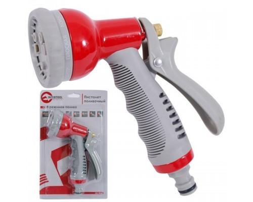 Пистолет-распылитель для полива 8 функций, металлический корпус INTERTOOL GE-0003