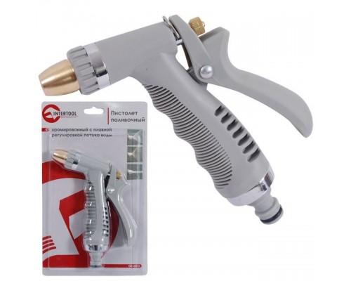 Пистолет-распылитель для полива хромированный с плавной регулировкой потока воды. ABS, PP, TPR, ZINC ALLOY, BRASS INTERTOOL GE-0013