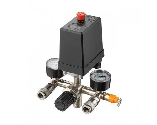 Прессостат 380В(блок автоматики компрессора) 10 bar в сборе, (прессостат, редуктор, 2 манометра, предохранительный клапан, два выхода) INTERTOOL PT-9097